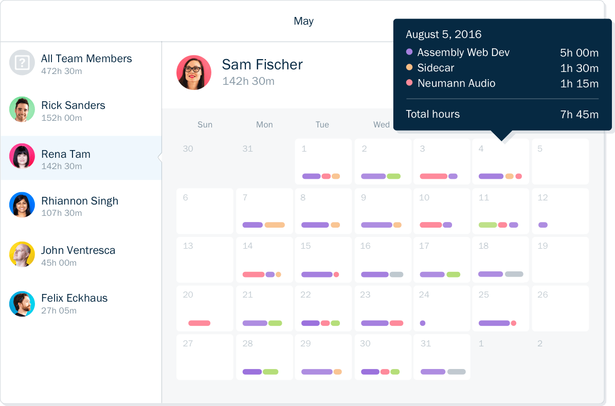 Screenshot of time tracking for team members on a calendar interface in FreshBooks accounting software