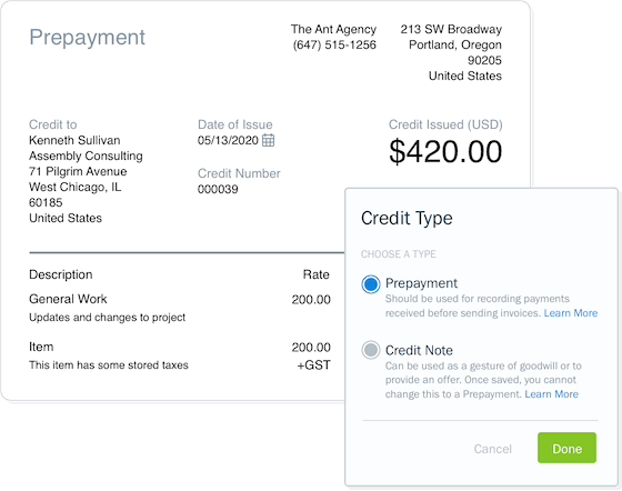 Screenshot of setting up credit notes and prepayments in FreshBooks accounting software