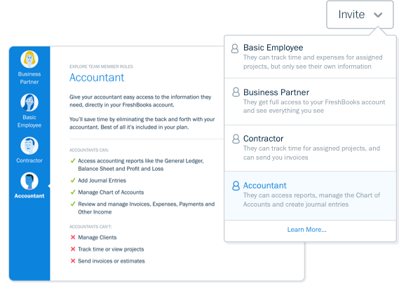 Screenshot of accountant access option in FreshBooks accounting software